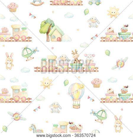 Donkey, Giraffe, Mouse, Car, Balloon, Train, Sun, Clouds, House, Toys, Horse. Watercolor Seamless Pa