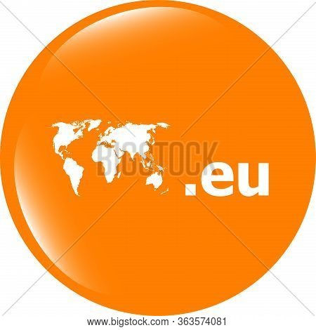 Domain Eu Sign Icon. Top-level Internet Domain Symbol With World Map