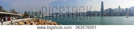 Hong Kong - January 12 2020 : Panorama Of Victoria Harbour With Skyscrapers And West Kowloon Waterfr