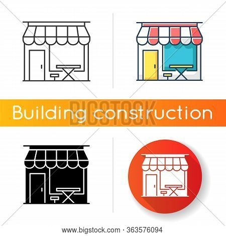Cafe Front Icon. Coffeeshop Storefront. Cafeteria Exterior. Bistro Building With Awning. Table And C
