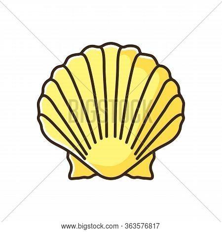 Scallop Shell Yellow Rgb Color Icon. Exotic Seashell, Decorative Conch. Ocean Souvenir, Conchology C