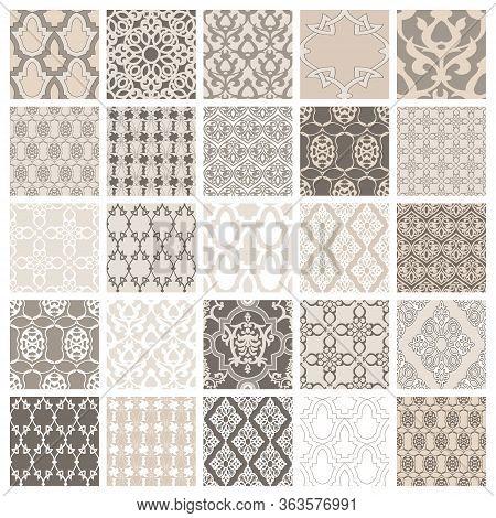 Set Of 25 Eastern Style Seamless. Vintage Background Traditional Ottoman Motifs. Decorative Pattern