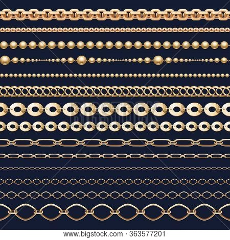 Chain Brush Set. Golden Chainlet In Line Or Metallic Link Of Jewelry. Collection Of Shining Metal St