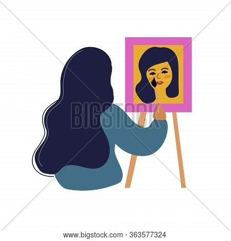 Girl Artist Draws A Self Portrait. Woman Learning Drawing At Home, Hobbies Concept. Vector Illustrat
