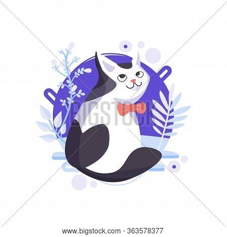 Funny Cartoon Cat Standing And Looking From His Back. Happy Character, Glorious Pet Wearing A Red Bo