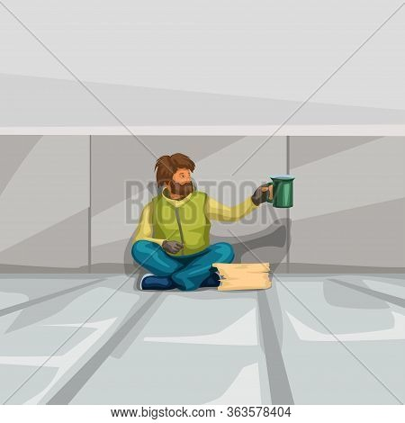 Illustration Of Homeless Man Sitting At Wall And Begging For Donation