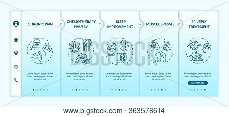Cannabis Medical Use Onboarding Vector Template. Chronic Pain And Muscle Spasms Treatment. Responsiv