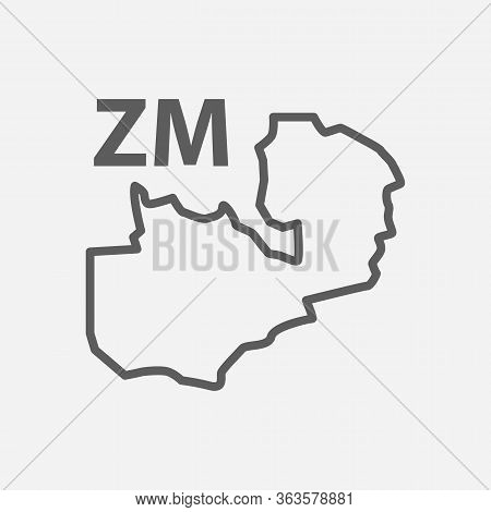 Zambia Icon Line Symbol. Isolated Illustration Of Icon Sign Concept For Your Web Site Mobile App Log
