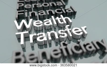 Wealth Transfer Income Redistribution Balance Words 3d Illustration