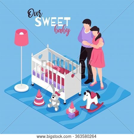 Children Room Interior Isometric Composition With Hugging Parents Baby In Cot Toys Lamp Blue Backgro
