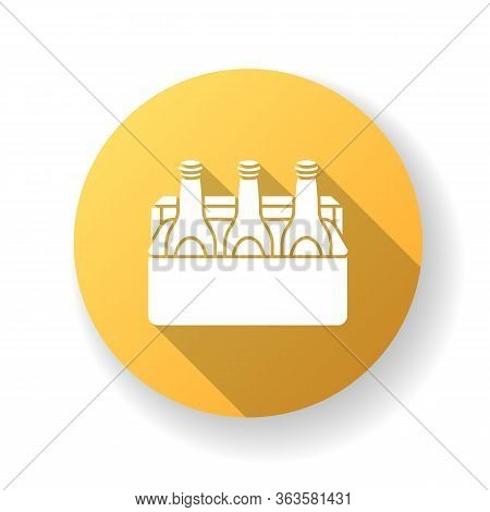Beer Yellow Flat Design Long Shadow Glyph Icon. Alcoholic Beverage In Cooler. Booze In Package. Spir