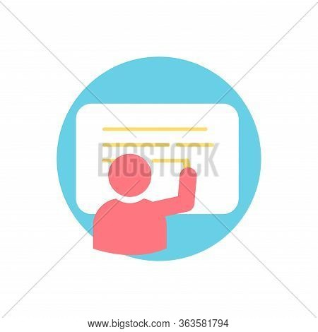 Vocational Training And Teaching Icon. Person Symbol Writing On A Blackboard.