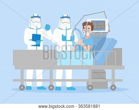 Cheerful Doctor In Personal Protective Suit Ppe Clothing Is Cheer Up A Man Lying On A Bed In A Hospi