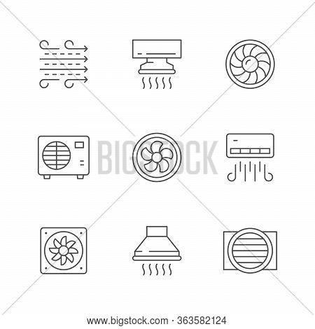 Set Line Icons Of Ventilation Isolated On White. Conditioner, Airflow, Electric Fan, Cooker Hood, Hv