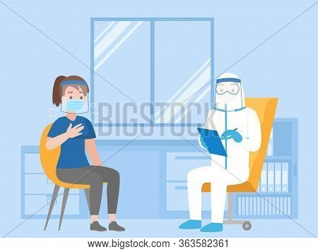 Woman See Doctor For Check Herself, Doctor In Personal Protective Suit Consulting Female Patient, Pe