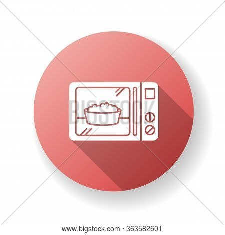 Ready Meal Red Flat Design Long Shadow Glyph Icon. Microwave Food. Heated Popcorn In Bowl. Meal Prep