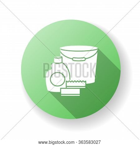 Cleaning Supplies Green Flat Design Long Shadow Glyph Icon. Detergent For Sanitation. Disinfectant I