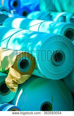 Rolls Of Blue Medical Paper At A Paper Mill Uk