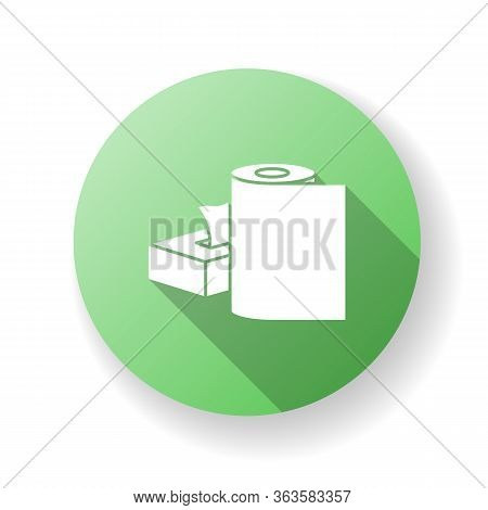 Paper Products Green Flat Design Long Shadow Glyph Icon. Disposable Tissues In Box Package. Toiletri