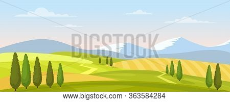 Rural Landscape In Summer Vector Illustration. Cartoon Flat Countryside Farmland Scenery With Green