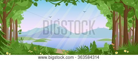 Mountain Landscape With Summer Forest Vector Illustration. Cartoon Flat Countryside Beautiful Nature