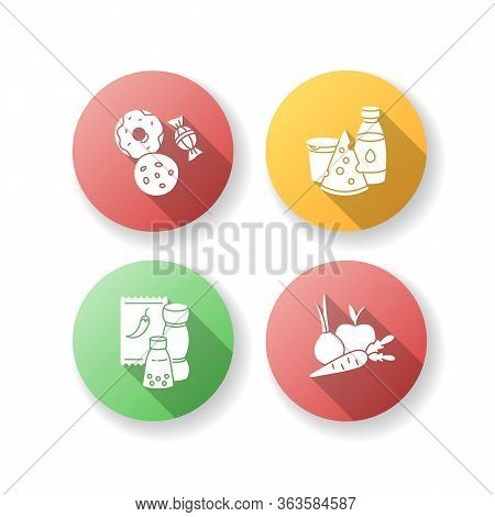 Supermarket Food Flat Design Long Shadow Glyph Icons Set. Candy And Cookies. Peper In Pack. Sweet Pa