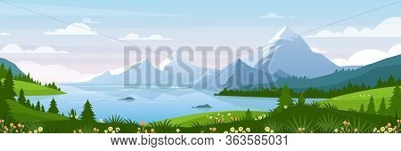 Mountain Lake Landscape Vector Illustration. Cartoon Flat Panorama Of Spring Summer Beautiful Nature