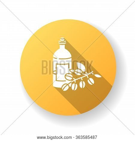 Jojoba Oil Yellow Flat Design Long Shadow Glyph Icon. Liquid Product In Jar Container For Haircare.