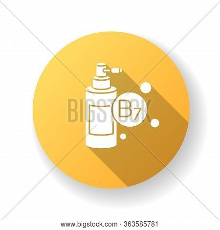 B7 Biotin In Liquid Form Yellow Flat Design Long Shadow Glyph Icon. Mist And Spray In Bottle Package