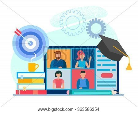 Online Training, Web Education, Coaching And Trainings, Online Teamwork, Web Training Process. Vecto