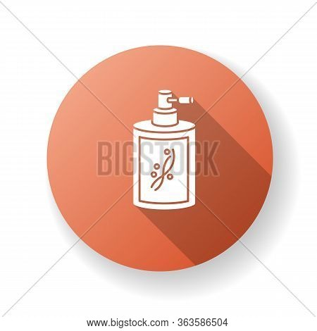 Liquid Silicon In Bottle Red Flat Design Long Shadow Glyph Icon. Conditioner In Jar Container With S