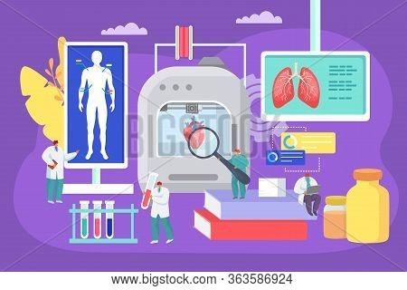 3d Printing Human Organs At Medical Laboratory, Vector Illustration. Bioprinter Modern Technology, D