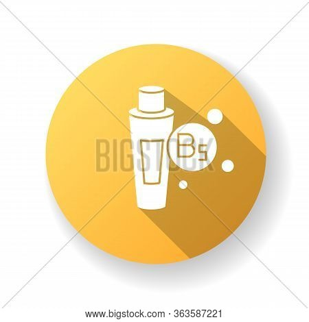 B5 Panthenol In Tube Yellow Flat Design Long Shadow Glyph Icon. Medical Ointment. Remedy In Package.