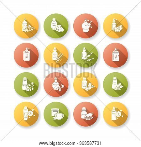 Hair Oils Flat Design Long Shadow Glyph Icons Set. Hydrolyzed Wheat Protein Cosmetic Product. Almond