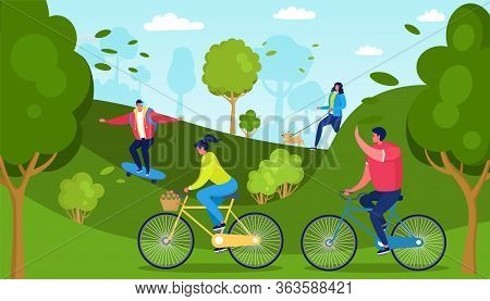 Casual People Outside Activity, Vector Illustration. Active Recreation In Park, Riding Bike, Skatebo