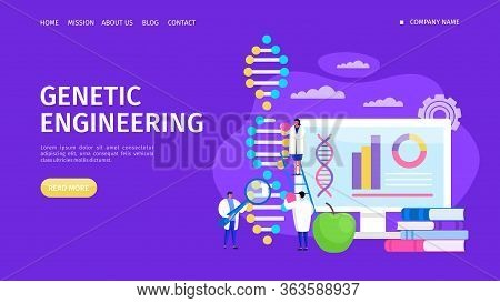 Genetic Engineering, Changing Dna Structure Landing Vector Illustration. Laboratory Experiment Gene