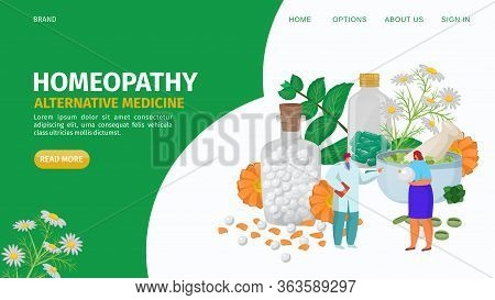 Homeopathy Alternative Herbs Medicine, Landing Vector Illustration. Natural Organic Product Cure, Me