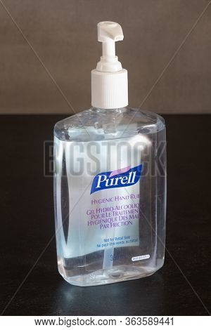 Primelin - France, March 12, 2020 : Purell Hydro-alcoholic Gel Bottle With A Pump