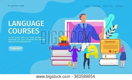 Language Online Course, Landing Vector Illustration. Distance Internet School For Learn Foreign Lang