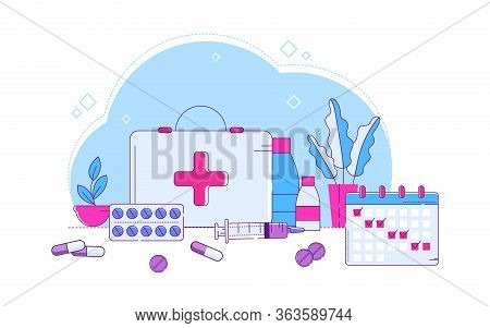 Line Different Medical Pills Vector Illustration. First-aid Kit, Set Medical Devices And Medicines D
