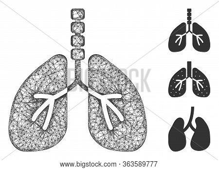 Mesh Breathe System Polygonal Web Symbol Vector Illustration. Model Is Based On Breathe System Flat