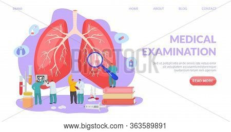 Medical Lung Examination, Landing Vector Illustration. Respiratory System Diagnostic And Treatment,