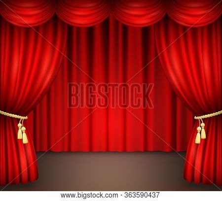 Red Curtain With Drapery On Theater Stage. Vector Illustration Of Open Velvet Drapes With Golden Cor