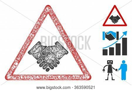Mesh Handshake Warning Polygonal Web Icon Vector Illustration. Carcass Model Is Based On Handshake W