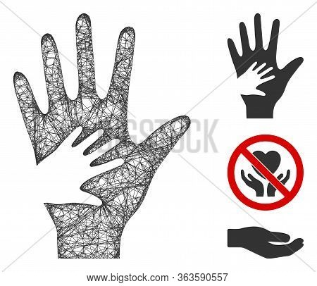Mesh Help Hand Polygonal Web Icon Vector Illustration. Carcass Model Is Based On Help Hand Flat Icon