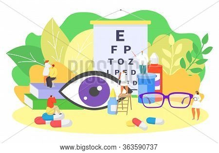 Ophthalmology Eye Care, Oculists Work Vector Illustration. Sight Clinical Diagnostic, Vision Check U
