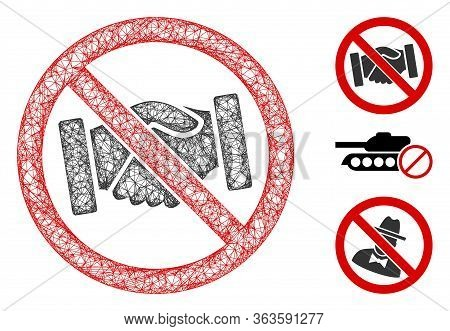 Mesh No Handshakes Polygonal Web Icon Vector Illustration. Carcass Model Is Based On No Handshakes F