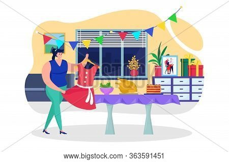 Preparing Birthday Celebration At Home, Vector Illustration. Woman Decorate Room For Party, Holiday