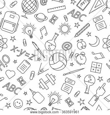 Doodle Pattern On The Theme Of Education.on A White Background.
