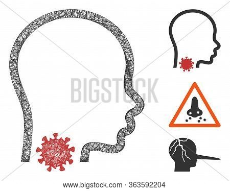 Mesh Sore Throat Polygonal Web Icon Vector Illustration. Abstraction Is Based On Sore Throat Flat Ic